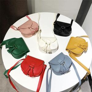 7 Color niños Mini borlas bolsos de hombro niñas monedero bolsa de mensajero PU tela de dibujos animados lindo inclinado bolso T9I00246