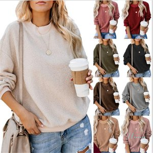 Sherpa Hoodies Frauen-Winter-Fall Warmer Fleece-Sweatshirt Voll-Hülsen-loser Pelz Pullover Pullover Campus Prepy beiläufige Sweatshirts Cloth C92610