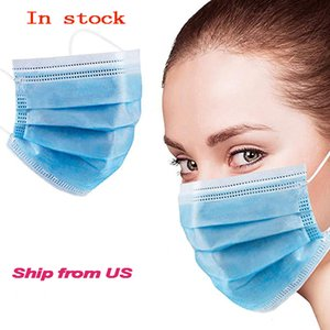 US Stock Disposable 3 layer Safety Face Mask for Personal Health Disposable Earloop Face Mask-Protect Yourself from Dust, Germs and Pollen