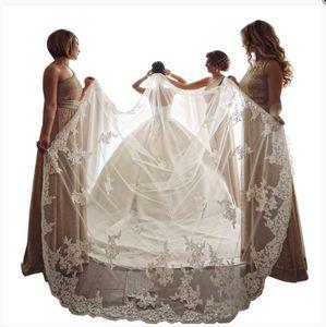 Gerçek Fotoğraflar Tek Bir Katman Beyaz Fildişi Gelin Veils Dantel Aplike Sequins 400 cm Katedrali Uzunluğu Gelin Düğün Peçe