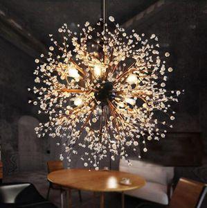 Modern Dandelion Lustres Firework Led forjado Vintage Ferro Chandelier Ilha Pendant iluminação de teto Luz para Quarto Sala de jantar