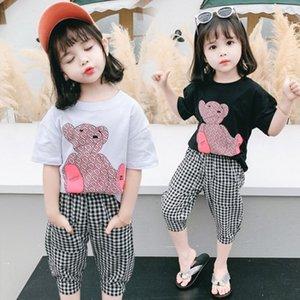 Abbigliamento ragazzi progettista 2020 pantaloni a scacchi orso-Head Set ragazze a maniche corte cartone animato due pezzi