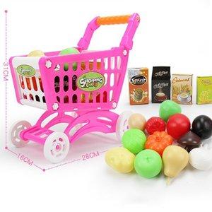 1Set Kids Simulation Supermarkt Einkaufswagen Mini Trolley mit Frucht-Gemüse