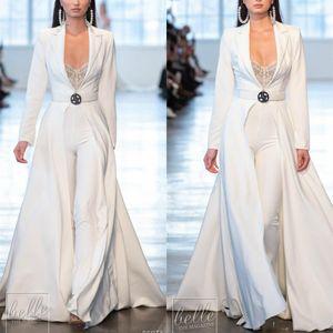 2019 Berta blanc Robes de bal Tenues manches longues en satin avec vestes longues Robes de soirée Plus robes Taille de soirée Pantalons Party Costumes Robe