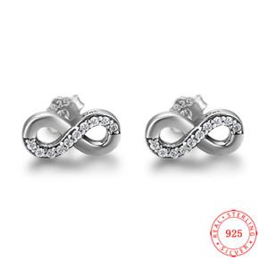 China de buena calidad 925 sin fin Infinito doble círculo presentes regalos de cumpleaños niñas señora del diseño de plata de ley Pendientes oxidadas