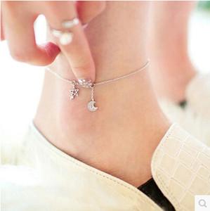 Kadınlara halhal kız nakliye% 100 925 gümüş yüksek kaliteli parlak kristal yıldız ay ladies`anklets takı hediye damla
