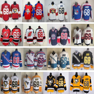 Men Pittsburgh 66 Mario Lemieux Jersey Penguins 68 Jaromir Jagr New York Rangers Florida Panthers Hockey Vintage CCM Blanco negro cosido
