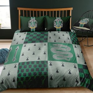 Slytherin Printed Bedding Set Double Size Vange 3D Davet Cover Queen Classic Green Home Deco King Single Bed Cover with Pillowcase