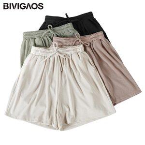 BIVIGAOS Sommer neue süße Shorts Frauen Drawstring beiläufige Kurzschlüsse plus Größe lose Wide Leg Damen Lungewear