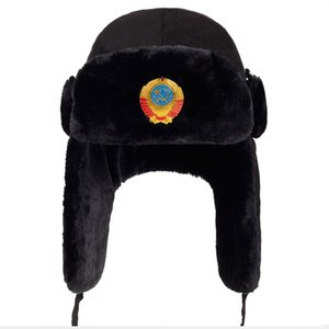 2018 new Men Russian CCCP Lei Feng Winter Hat Aviator Outdoor Ear Flaps Bomber Caps Proof Trapper Russian cap Hats