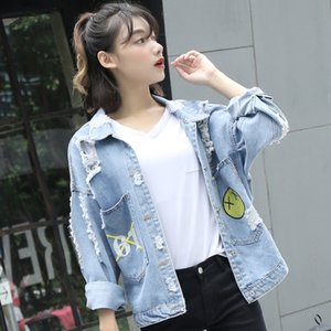 Eachin Jeans-Jacke für Frauen Herbst-Winter-losen beiläufigen Cowboy-Mantel Weiblicher Outwear Denim ausgefransten zerrissenen Loch Vintage-Jean-Jacke