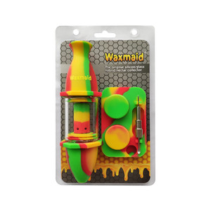 wholesale Oil Rig Water Pipe Glass Water Bong Waxmaid Nectar Collector Kit with Silicone Container Dab Tool Retail Package