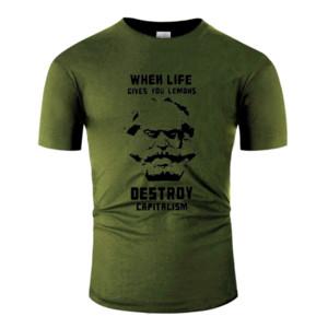 T-Shirt For Men 2020 novidade Básico sólida Tamanho camiseta O Neck Big Men 5XL S ~ T Tops Meme engraçado Humor Karl Marx engraçado