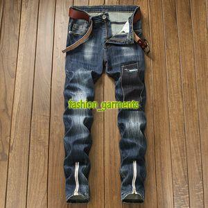Moda Jeans Mens Azul Denim Calças Nostálgico Zipper decoração da moda jeans reta maré Homens Calças jeans slim