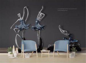 Modernes minimalistisches dreidimensionales Tanzstudio-Ballett-Wohnzimmer-Schlafzimmer-Hintergrund-Wand-Dekorations-Tapete der Tapete 3D