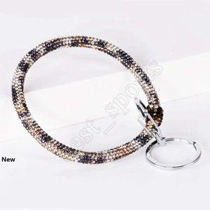 Silicone Wrist Key Ring Glitter Crystal Rhinestone Silicone Bracelet Keychain Bangle Women Circle Car Key Chain Jewelry Party Favor ZZA1444