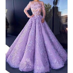 Stunning lavanda abito di sfera Quinceanera per Sweet 16 Prom Pageant Wears Masqurada Sheer Long Sleeve Petal Power Appliques 3D