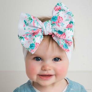Großhandelsbaby-Mädchen-weiches Haar beugt Knoten Stirnband Scrawl Blumen-Meerjungfrau-Druck Hair DIY-Haar-Accessoire