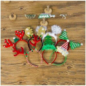 Las vendas astas de Navidad copo de cabeza del cerrojo Hijos Adultos de Navidad árbol de Headwear de año nuevo decoraciones del partido de Inicio