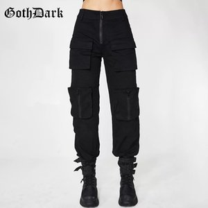 Pantaloni dark goth nero a pieghe Grunge gotiche per le donne Harajuku punk Patchwork Zipper Pockets autunno 2019 Moda Donna Pantaloni