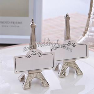 حامل FREE SHIPPING 20PCS رومانسية باريس تحت عنوان برج ايفل الانتهاء من الفضة مكان بطاقة صور كليب الزفاف الجدول ديكورات