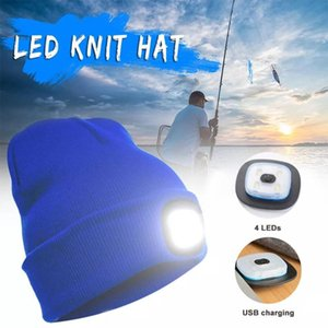 Outdoor Winter LED Lighted Cap Warm Beanies Men Women Fishing Running Beanie Hat Flash Camping Climbing Caps USB Rechargeable