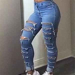 Женщины Отверстие Дизайнерские Джинсы Тощий Высокая Талия Синий Дамы Карандаш Брюки Уличная Мода Женская Одежда