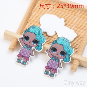 Options LOL 60pcs lot Fashion Cartoon Character Resins Flatback for Hair Bows Hair Accessories Planar Resin Crafts DIY Decorations