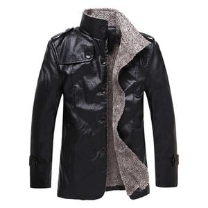 Escudo Waidx hombres de piel de imitación de cuero de la motocicleta de invierno causal cuero de la PU de la chaqueta de la vendimia 8XL Chaqueta de motorista para hombre viejo Dropship