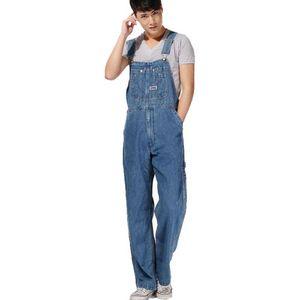 Erkekler artı boyutu Büyük boy büyük kot önlük pantolon Moda cebi jumpsuits Erkek Ücretsiz kargo overalls