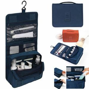 Pure Color Foldable Travel Storage Wash Bag Hanging Wash Bag Portable Travel Finishing Cosmetic Bag EEA1373-7