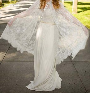 Boho Wedding Dress with Lace Wrap Short Cape Beading Waist Chiffon Elegant Bohemian 2021 Spring Bridal Gowns Custom Size