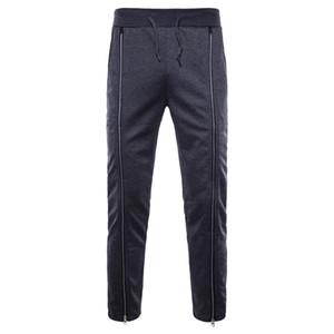 Fasion Erkekler Slim Fit Fermuarlar Pamuk Pantolon Casual Uzun Pantolon