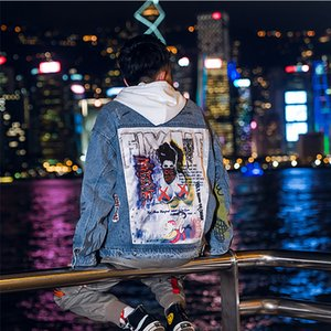HFNF 2019 moda rahat chaqueta de bombardero de los hombres hip hop hombres denim calle retro chaqueta