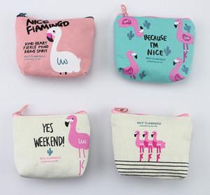 Meninas portátil Canvas Coin Purse Mulheres Mini Flamingo Canvas Zipper Titular bonito Key Carteira Pouch