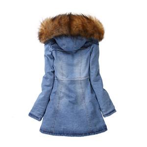 Wholeslae-YOCALOR Kış Ceket Kadınlar Kadın Denim Ceket Isınıyor Rakun Kürk Yaka Coat Parka Dış Giyim Hood Kalın Palto Parkı