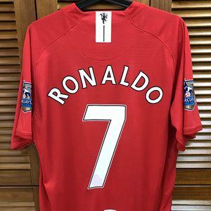 M_U 07/08 Винтажная классическая домашняя рубашка Джерси с короткими рукавами Rooney Giggs Ronaldo Football Custom Number Number Patches Sponsor
