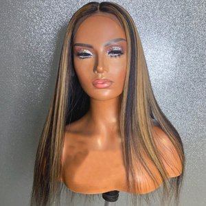 Ombre Highlight Wig Brown Honey Blonde Colored Whole Lace Front Human Hair Wigs Straight Full Lace Wig Silk Top Remy Wig