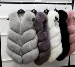 Estilo Vestimenta diseñador de moda de prendas de vestir para mujer de invierno Faux Fur del chaleco sin mangas del botón cubierto de lujo Mujer