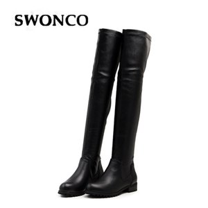 SWONCO Tight High Boots Women Winter Warm Shoes Black Genuine Leather Boots Female 2019 New Sexy Black Tall Snow Boot For Women