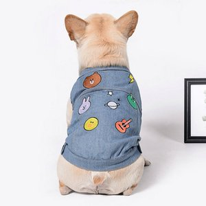 Dog Clothes for Small Dogs Denim Jacket for French Bulldog Chihuahua Jean Vest Cartoon Print Coat Coat for Pug Puppy Pet Costume
