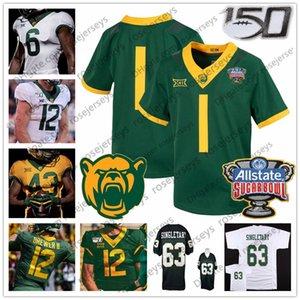 Costumbre Baylor Bears Fútbol 2019 Sugar Bowl 150TTH Blanco Verde Amarillo # 12 Charlie Brewer II 5 Denzel Mims 7 John Lovett Jersey 4XL
