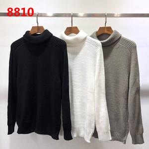 2019 de alta calidad de cuello alto suéter de punto de manga larga suéteres Negro Blanco Gris suéter M-2XL Diseñador Sweatershirts 8810