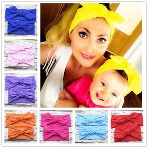 2 pcs set 10 cores Pai-filho bowknot headband elástico adulto crianças orelhas de coelho de algodão sólido hairband acessórios para o cabelo M102