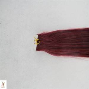 Red Color Brazilian Remy Tape In Human Hair Extensions 100% Human Hair 2.5g stand 40pcs pack Tape In Straight Hair Skin Weft