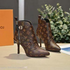 Mit Frauen Janet Designer Ankle Schwarz Braun Leder Lady Feine Absatz-Kleid-Boot-19SS beiläufige Aufladungen