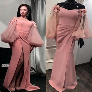 2020 Prom Dresses Mermaid Off Shoulder Floor Length Evening Gowns With Long Sleeve Hand Made Flower High Split Formal Party Gowns
