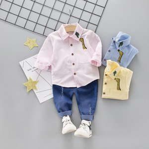 trendInfant cartoon shirt solid cotton todder boys warm gentleman clothes 2019 new children clothing Korean boys and girls infant baby suits