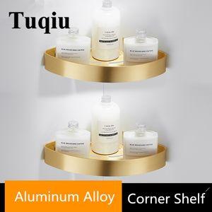 Tuqiu Canto prateleira fixada na parede de alumínio Banheiro Saboneteira Duche Prateleira escovado ouro Bath Shampoo Titular Basket Titular T200518