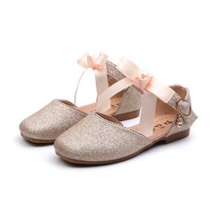 Kinder Princess Schuhe Student Tanzschuhe für Mädchen-Absatz-Sandelholz-Kleid Lila Kinder Leder Glitzer-Kristallschuhe Bankett